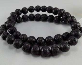 Black Lava Beads - 8mm - Sold per strand - #BST1128