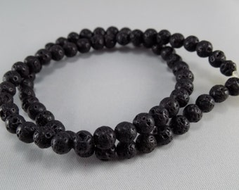 Black Lava Beads - 6mm - Sold per strand - #BST1127