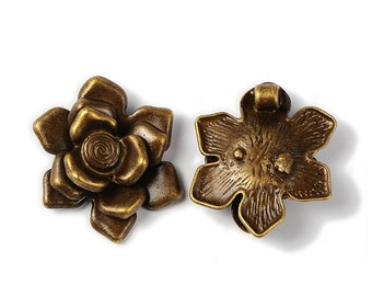Vintage Style Bronze Flower Pendant - Sold Individually - #PND163