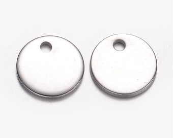 Round Blank Stamping Tags - 10mm - Stainless Steel - Set of 10 - Silver Tone - #SH143