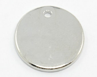 Round Blank Stamping Tags - 16mm - Stainless Steel - Set of 5 - Silver Tone - #SH232