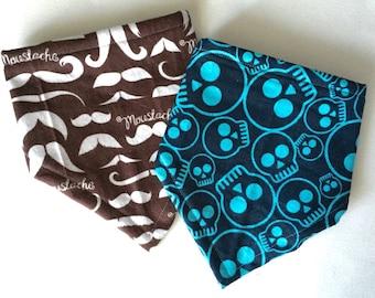 Bandana Bib for Baby, Mustache Print, Skull Print, Bibdana, Baby Bandana, Gift Set, Baby Shower Gift