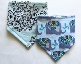 Boho Baby Bibdana Set, Baby Shower Gift, Bib 2 pack, Elephant Bib Set