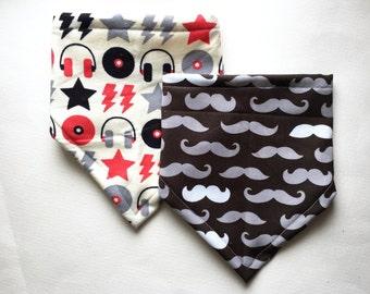 Bandana Bib for Baby, Mustache Print, Rock and Roll Print, Bibdana Gift Set, Baby Shower Gift