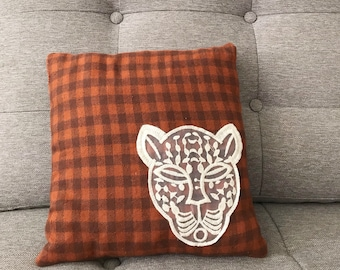 Leopard and Plaid Pillow, Decorative Throw Pillow, Ready to Ship