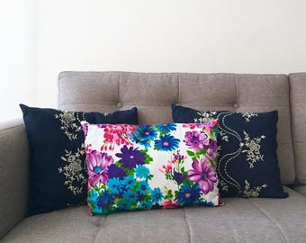 Vintage Floral Pillow, Decorative Throw Pillow, White and Purple Pillow