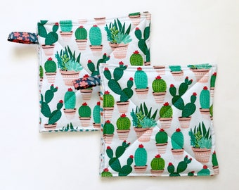 Cactus Print Potholders, Set of 2, Hostess Gift, Foodie Gift