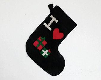 Christmas Stocking, I Love Presents Felt Stocking
