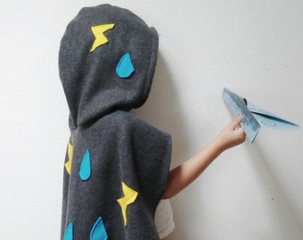 Storm Cloud Cape, Halloween Costume or Dress Up Cape for Kids
