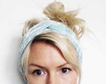 Velvet Turban Headband, Mint Velvet Twist Turban