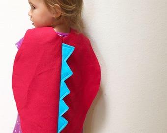 Red Toddler Dinosaur Cape, Toddler Halloween Costume, Little Kids Cape