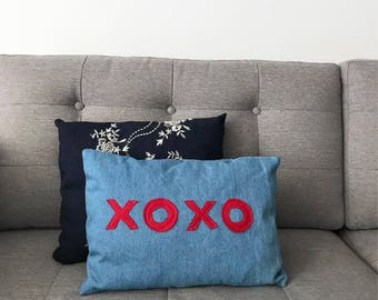 XOXO Denim Pillow, Decorative Throw Pillow, Light Blue Denim Pillow