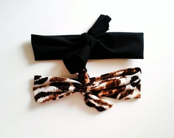 Top Knot Headband Set, Black and Leopard Headband Set, Infant Headband, Kids Headband, Toddler Headband