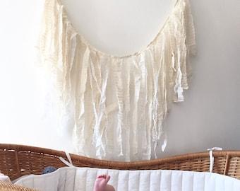 Ivory Rag Tie Banner, Tassel Banner, Scrap Banner, Ready to Ship, Nursery Decor, Wedding Banner, Bridal Shower
