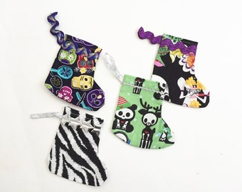 Mini Christmas Stocking Ornaments, Four Piece Goth Set, Skull Ornaments