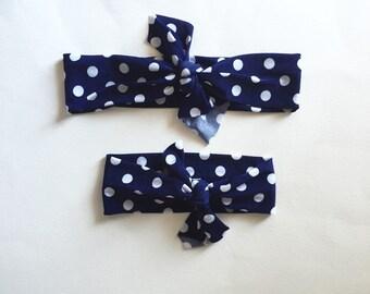 Mommy and Me Headband Set, Navy Polka Dot, Top Knot Headband Set