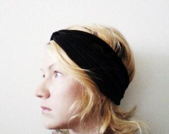 Black Turban Headband, Twist Turban Yoga headband
