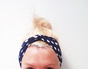 Twist Turban Headband, Navy Blue and White Polka Dot Print, Polka Dot Turban