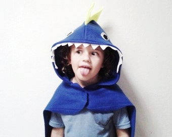 Blue Dinosaur Cape, Blue Dragon Costume, Kids Halloween Costume or Dress Up Cape