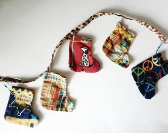 Christmas Mini Stocking Banner, Holiday Decor, Mantel Decor