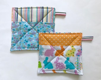 Easter Bunny Potholders, Set of 2, Patchwork Potholders, Hostess Gift, Eco Friendly