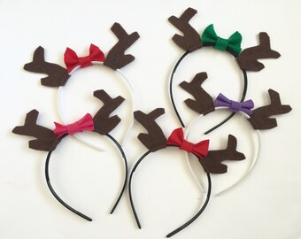 Antlers with Bows Headband Pack, Photo Booth Props, Reindeer Antlers, Woodland Party, Party Favors, Christmas Party
