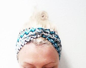 Twist Turban Headband, Turquoise Chevron Print Turban, Zig Zag Print Headband