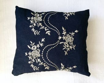 Embroidered Denim Pillow, Decorative Throw Pillow, Ready to Ship