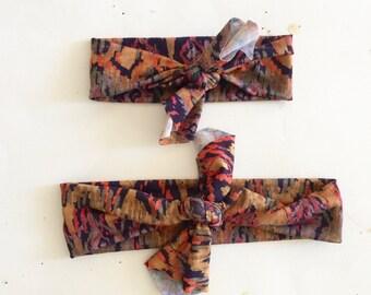 Top Knot Headband Matching Set, Mommy and Me, Headband Set, Boho print
