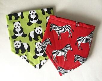 Baby Gift Set, Bandana Bib for Baby, Panda Print, Zebra Print, Bibdana, Twins Bib Set, Baby Shower Gift