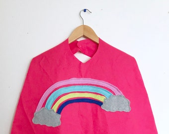 Pink Rainbow Cape, Halloween Costume or Dress Up Cape, Ready to Ship