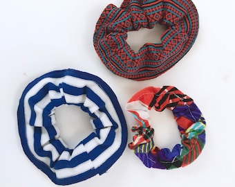 The Scrunchie, Set of 3, Vintage Fabric Scrunchies