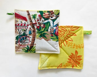 Tropical Potholder Set, Potholders, Hostess Gift, Foodie