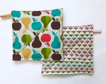 Apple and Pears Potholders, Set of 2, Patchwork Potholders, Hostess Gift, Eco Friendly