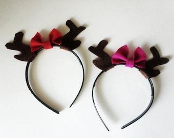 Deer Antlers Headband with Bow, Reindeer Headband