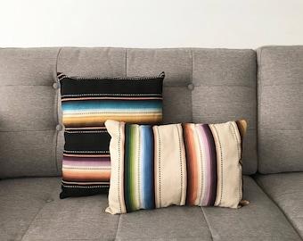 Serape Stripe Pillow, Decorative Throw Pillow, Ready to Ship