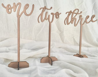 Laser Cut Wooden Calligraphy Table Numbers V2