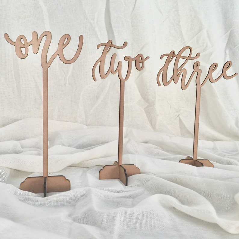 Laser Cut Wooden Calligraphy Table Numbers V2 image 0
