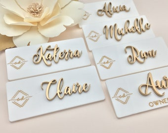 Personalized Raised Lettering Name Badge with Logo/Title
