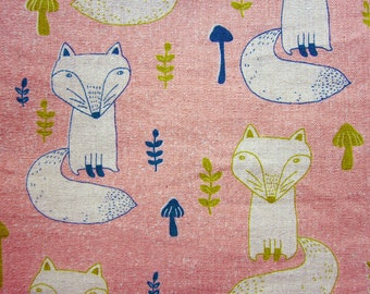 French Bulldogs on Dark Pink Fat Quarter LAST PIECE Cotton Linen Blend Fabric Animal Print Fabric