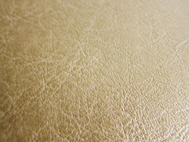 Faux Leather Fabric in Lambskin Pattern  Gold  Half Yard  image 0