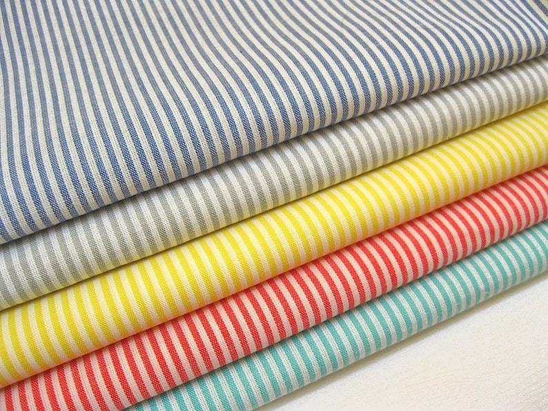 Cotton Fabric Japanese Fabric Pin Stripes in Red Half Yard
