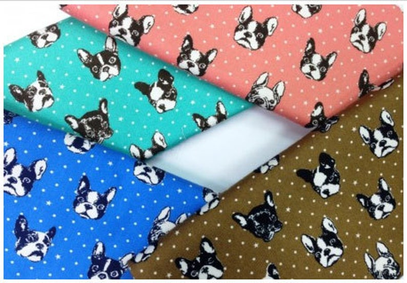 French Bulldog in Blue Fat Quarter Japanese Fabric Oxford Cotton Kokka Fabric from Japan