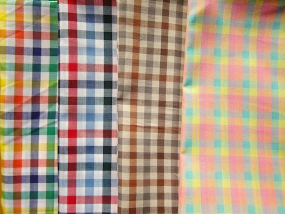 Rainbow Gingham Fabric Japanese Cotton Fabric Fat Quarter Fabric Bundle of 5 Colors