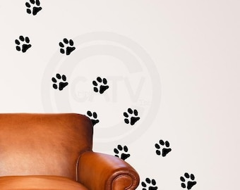 c182b0bd1c0e Vinyl decals Set of 20 Paw Prints vinyl lettering art decal wall stickers  nursery decor kids room