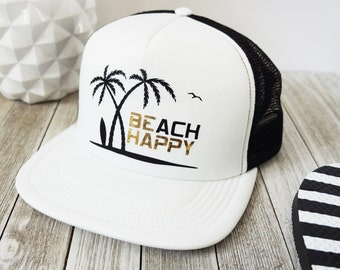 c5eb8bf4584a6 Beach Trucker Hat - Beach Happy (Be Happy) cute foam ladies palm tree hat