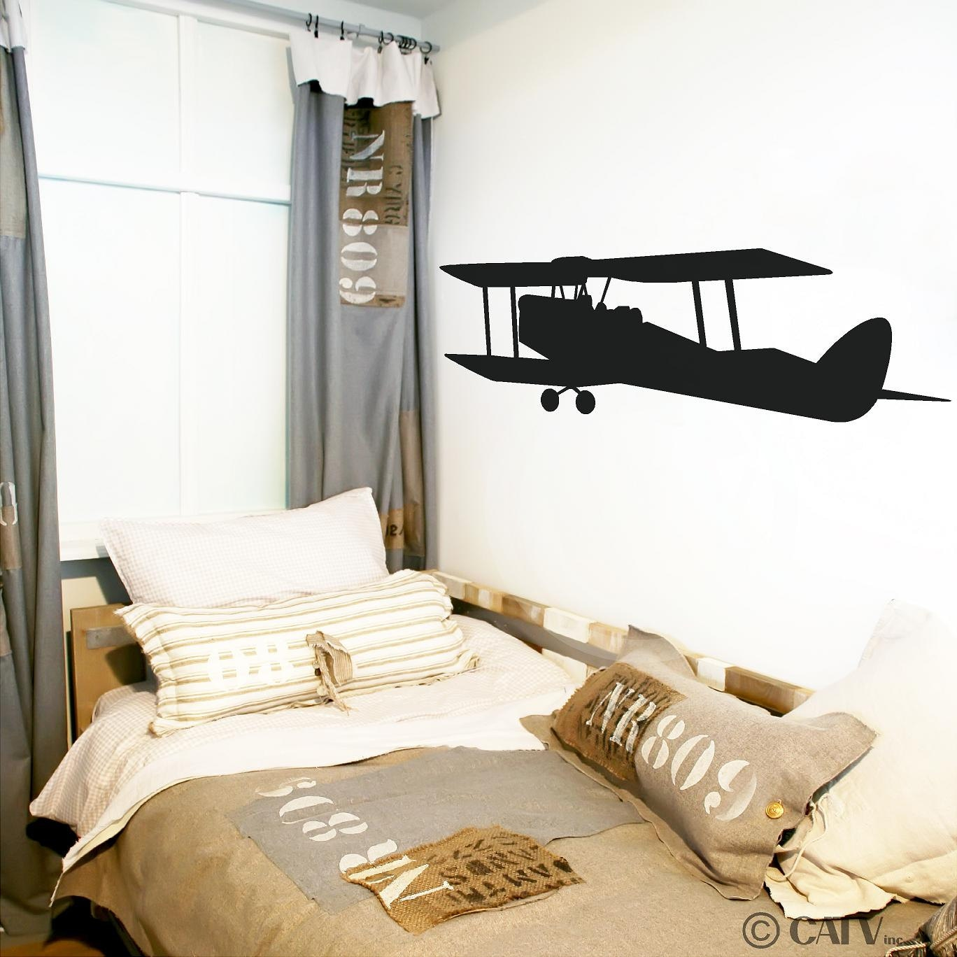 Vintage Airplane Vinyl Wall Decal Sticker Aplique Etsy