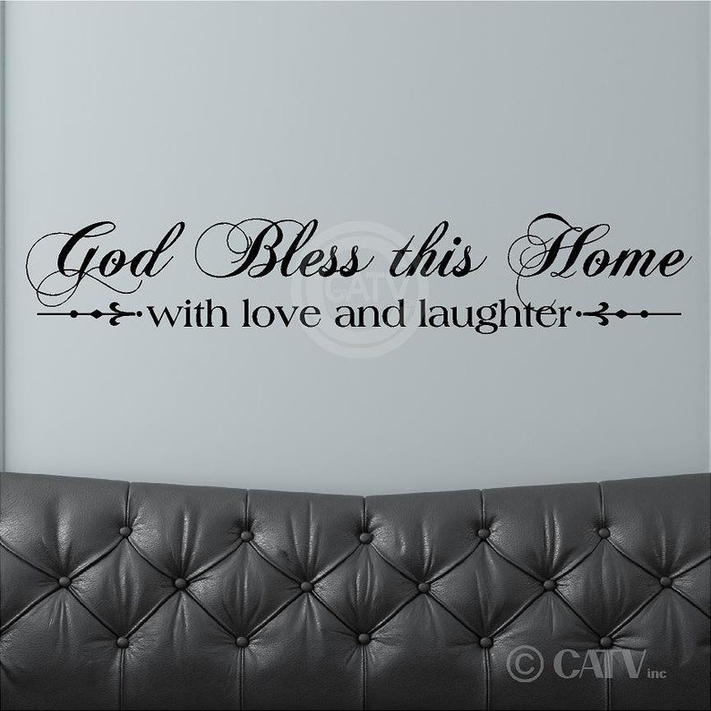 God Bless This Home With Love And Laughter customizable wall quote decal vinyl lettering sticker saying