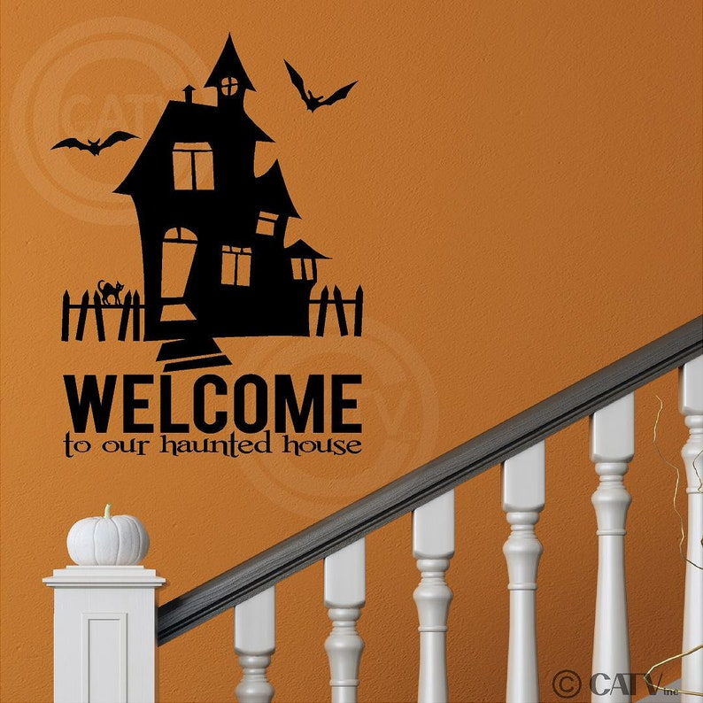 Welcome to Our Haunted House Halloween Holiday Vinyl Wall Decals Stickers Bats Prank Party Home Decor