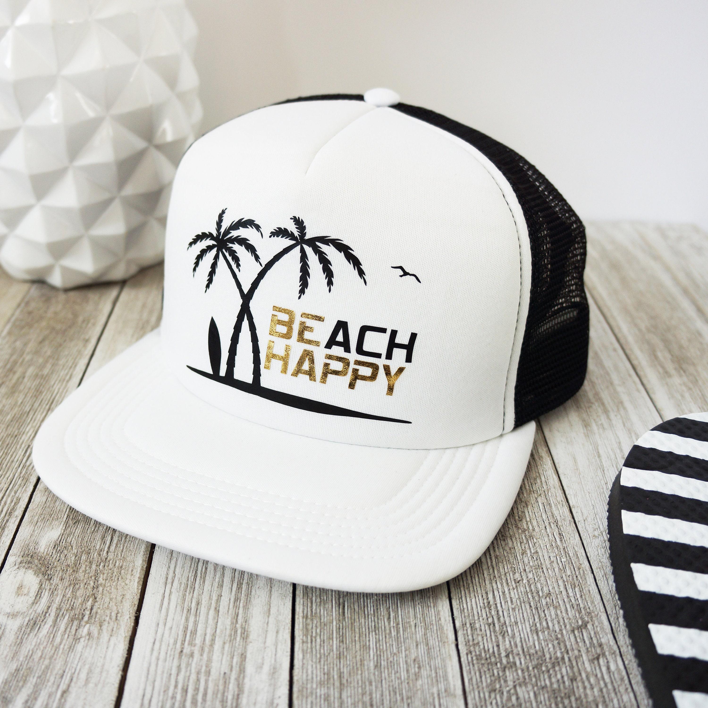 5224a586242 Beach Trucker Hat Beach Happy Be Happy cute foam ladies